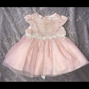 Baby girls sparkly lace cap-sleeve dress